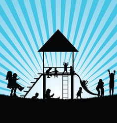 Children on toboggan and gadgets for play vector
