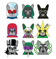 Villains french bullldogs icons 1 vector