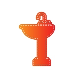 Bathroom sink sign orange applique isolated vector