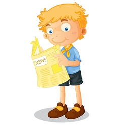 Cartoon boy reading newspaper vector