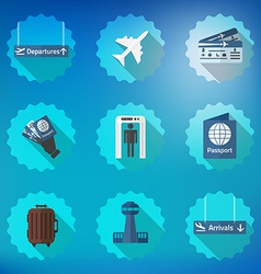 Airport Flight traveling Flat Icon Set Include vector image vector image