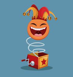 April fools day surprise box emoticon vector