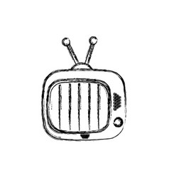 Blurred silhouette of antique tv device icon vector
