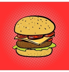 Burger comic book style pop art vector image vector image