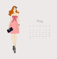 Calendar with fashion girl 2015 vector