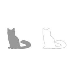 Cat the grey set icon vector