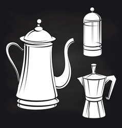 coffee pot stickers on blackboard background vector image