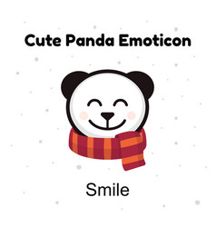 cute head baby panda bear smiles on a white vector image