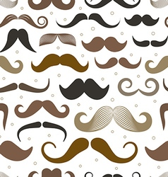 Different retro style moustache seamless pattern vector image