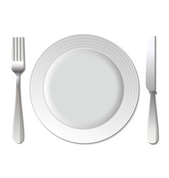 Dinner plate knife and fork vector image