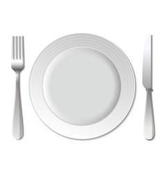 Dinner plate knife and fork vector