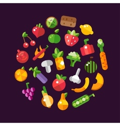 flat design fruits and vegetables icons composit vector image vector image