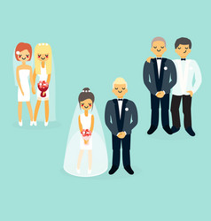 flat wedding characters icons set vector image