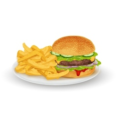 Hamburger on plate vector image