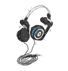 headphones hand drawn vector image