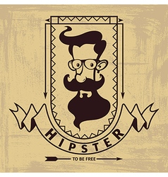 Hipster head emblem vector