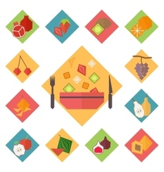 Icons fruit set vector image vector image