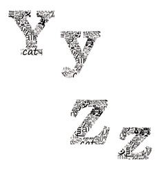 letters of different fonts vector image vector image