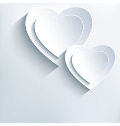 Modern grey background with white paper 3d hearts vector