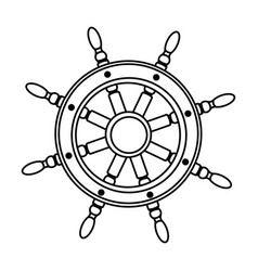 Monochrome silhouette of boat helm vector