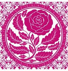 Pink vintage rose in round frame vector image vector image