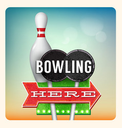 Retro Neon Sign Bowling vector image