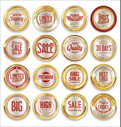 sale retro vintage golden badges and labels 05 vector image vector image