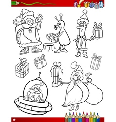 santa claus christmas coloring page vector image vector image