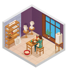 Scuplting studio isometric composition vector