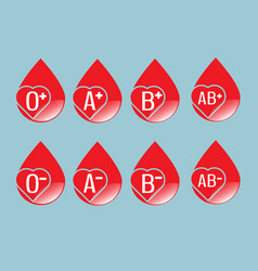 Set of blood group flat design vector