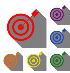 target with dart set of red orange yellow vector image