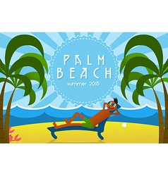 Tropical Island Vacation Postcard with Relaxing vector image vector image