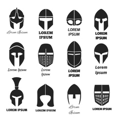 Warrior helmets black icons or logos set vector image vector image