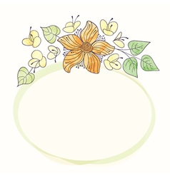 watercolor round flower frame Hand draw floral vector image vector image