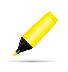 Yellow highlighter pen isolated on white vector