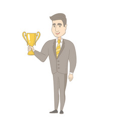 Young caucasian businessman holding a trophy vector