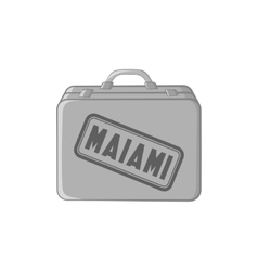 Suitcase for a flight to miami icon vector
