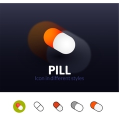 Pill icon in different style vector