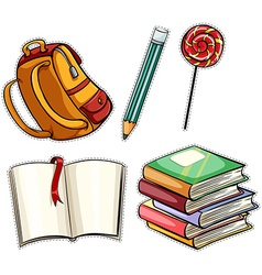 Sticker set with education objects vector image