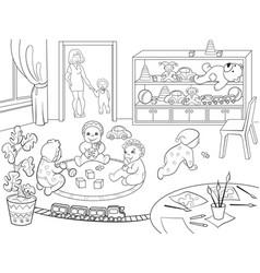 kindergarten coloring book for children cartoon vector image