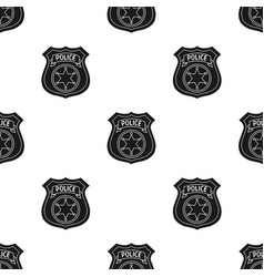 Police officer badge icon in black style isolated vector