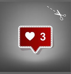 Like and comment sign  red icon with for vector