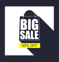 Big sale shopping bag silhouette with long shadow vector