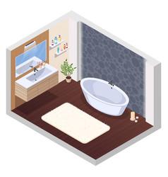Hot tub bathroom interior vector
