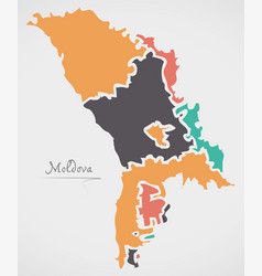 Moldova map with states and modern round shapes vector