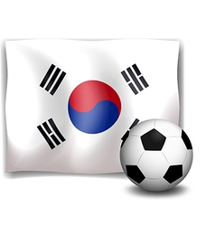 A soccer ball in front of the korean flag vector