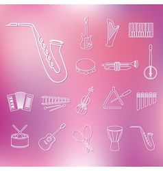 Music instruments outline icons vector
