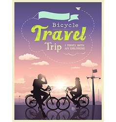 Bicycles travel trip i and my girlfriend design vector