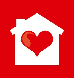 Heart home design vector