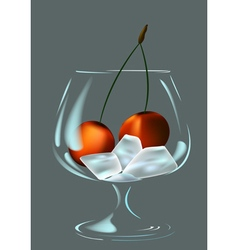 Wineglass ice and cherry vector